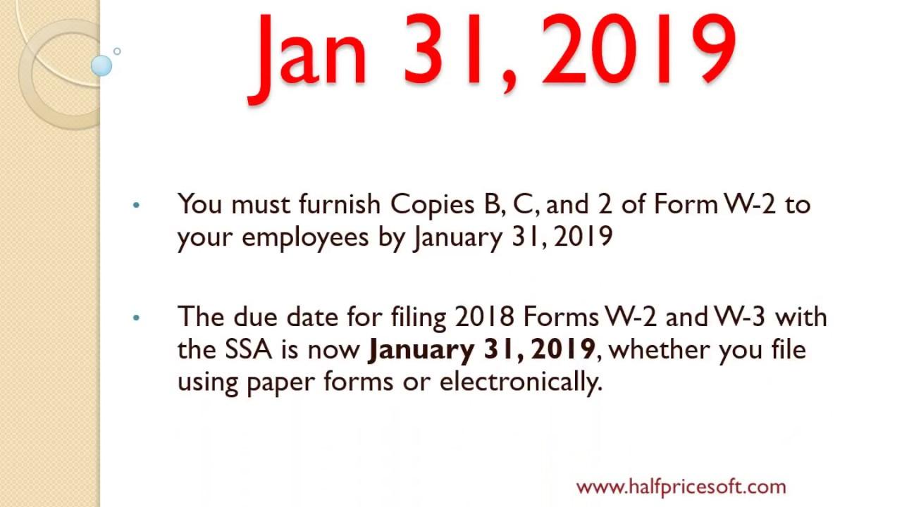 W2 W3 filing deadlines in 2019