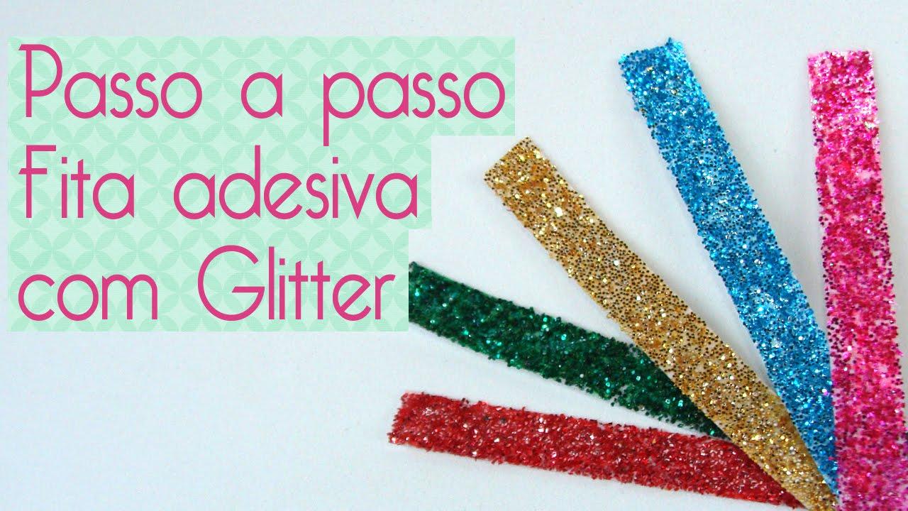 How to scrapbook with glitter - Diy Fita Adesiva Glitter Washi Tape Com Glitter Scrapbook By Tamy Youtube