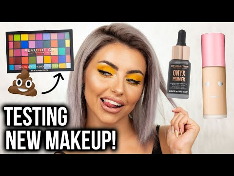 TESTING NEW MAKEUP! FULL FACE OF FIRST IMPRESSIONS + YELLOW EYE MAKEUP TUTORIAL! thumbnail