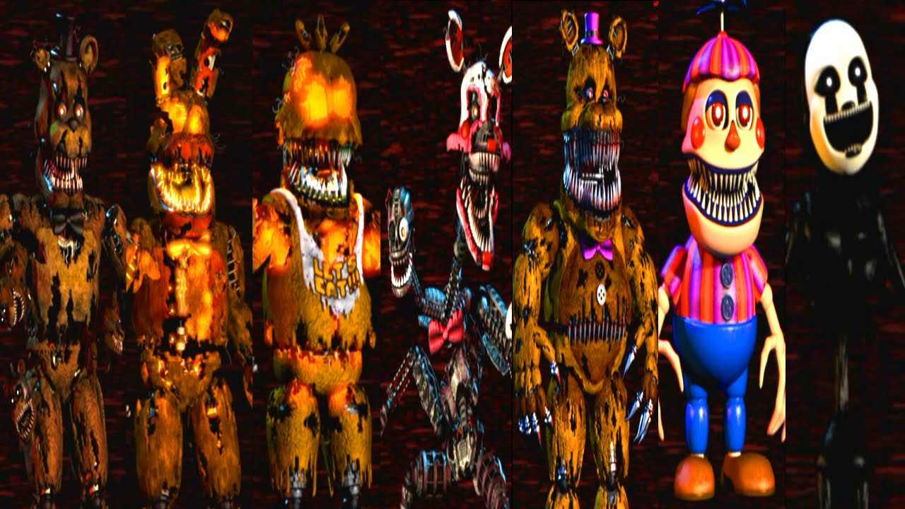 Five Nights at Freddy's 4 All Animatronics - YouTube