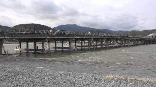 4K定点撮影 京都嵐山・渡月橋の定点撮影 KYOTO Arashiyama Togetukyo shooting