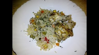 Рис с овощами и крылышками в духовке .( рекомендую всем)