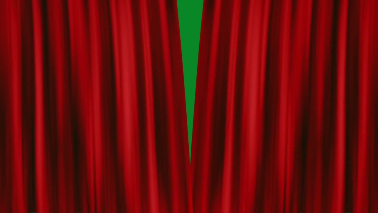 Red Curtains Drawn Open   Green Screen Bkgrnd   AE