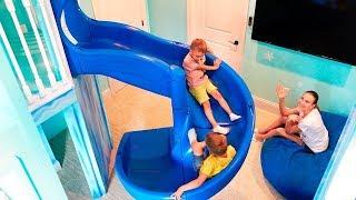 Download lagu Vlad y Nikita Dream House con dos áreas de juegos interiores para niños