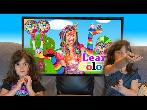 Twins watch Princess Lollipop Teach Colors with Pikmi Pops!