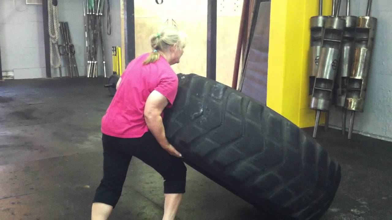 Crossfit - 61 Year Old Woman Flips 400Lb Tire - Youtube