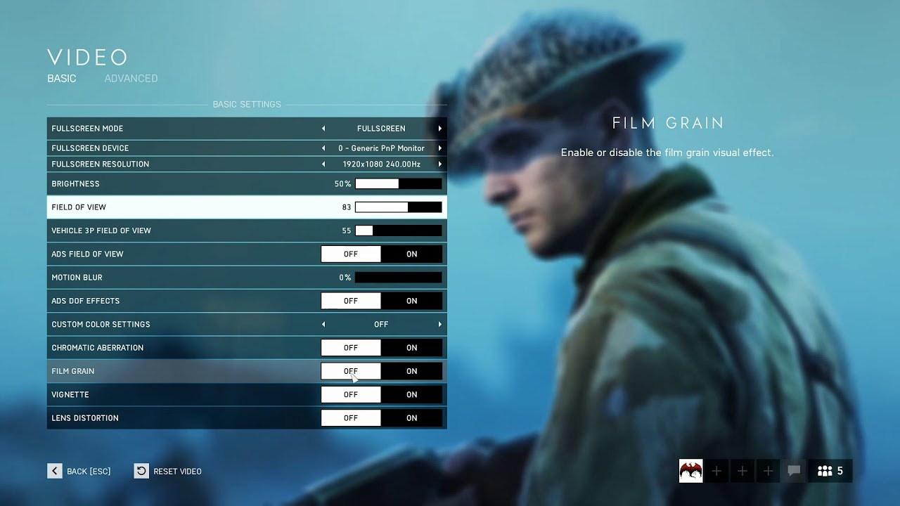 Battlefield V (5) Optimal Competitive Settings (Deluxe Release)