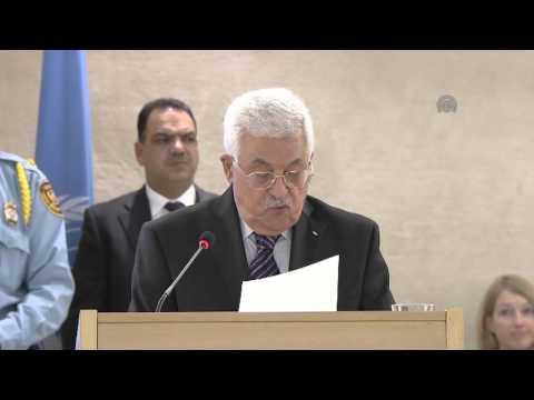 Palestinian President Mahmoud Abbas at UN Human Rights Council