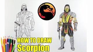 how to draw scorpion (как рисовать скорпиона из мортал комбат)