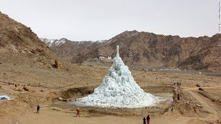 Gambar cover The artificial glacier growing in the desert, Ladakh, India, icy structure, the Ice Stupa