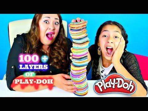 100 LAYERS OF PLAY DOH CHALLENGE!! Tuesday Play Doh|B2cutecupcakes