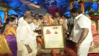 Felicitation of Vidyaranya Bharathi Swami ji & Samvit Somgiri Maharaj at Koti Deepothsavam 2015