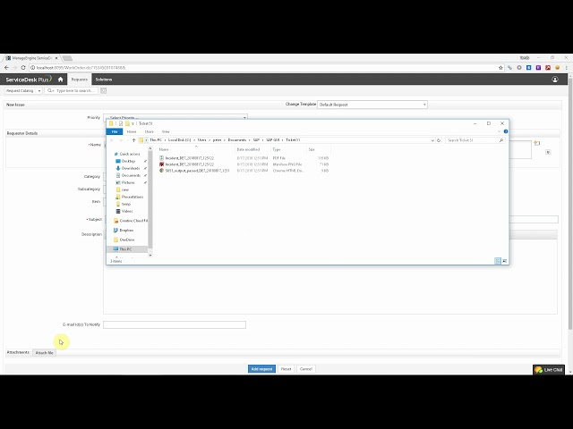 ServiceDesk Plus - Reporting an SAP error using the self-service portal