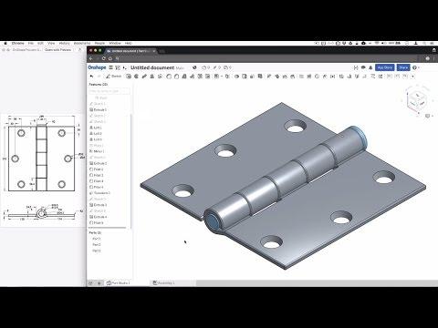 OnShape 3D Modeling Hinge Tutorial Exercise