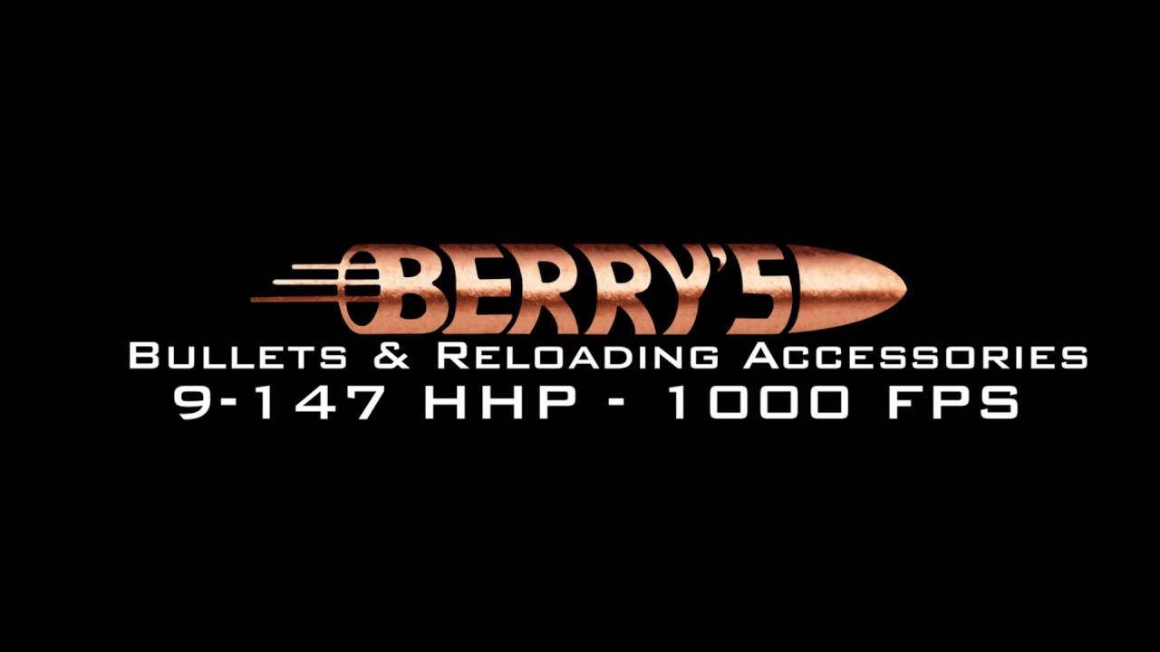 Berry's Superior Plated Bullets 9mm - 147 Gr  at 1000 FPS