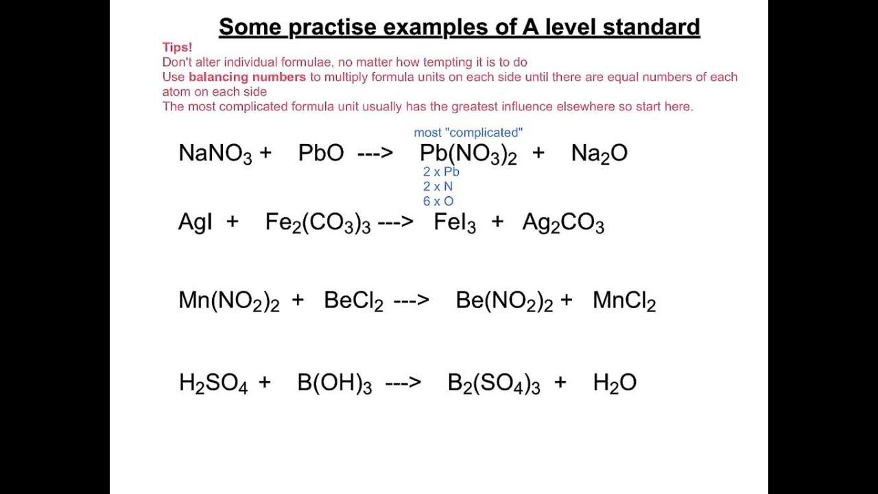 Balancing More Advanced Equations