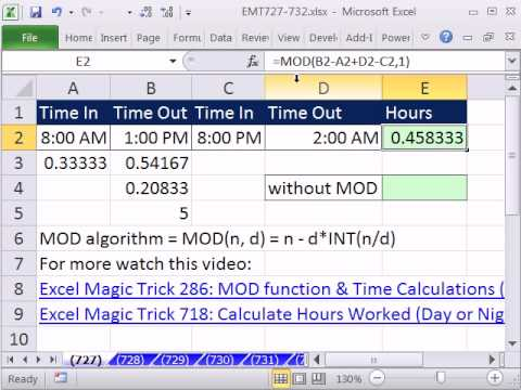 Excel magic trick 727 calculate hours worked night or day for Template to calculate hours worked