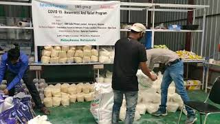 Packing Centre Food packets- Relief work