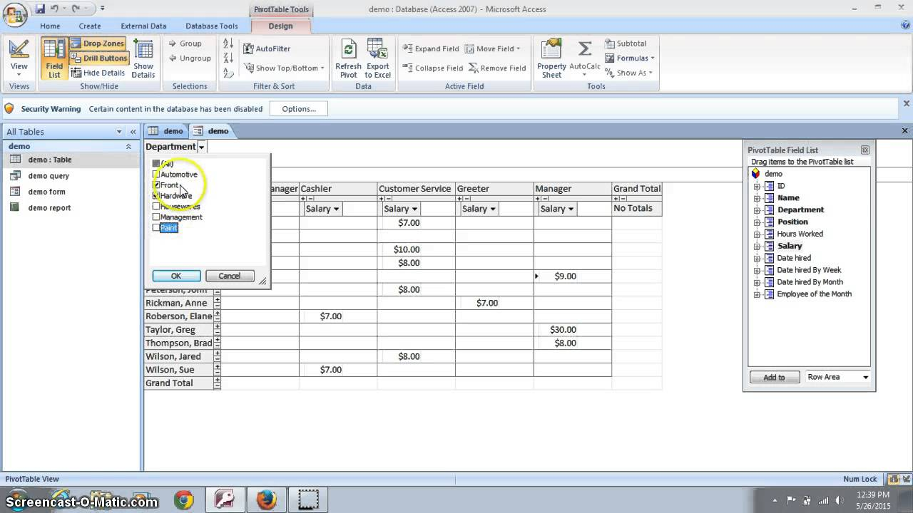 Microsoft Access Pivot Tables