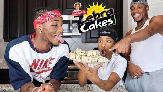 HOW TO MAKE FRIED ZEBRA CAKES FT. AR'MON AND TREY!!!