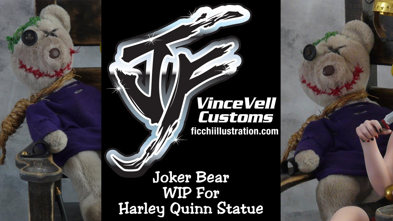 harley quinn custom joker teddy bear wip statue youtube. Black Bedroom Furniture Sets. Home Design Ideas