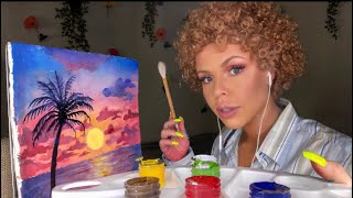 ASMR BOB ROSS PAINTING TUTORIAL ON AN EDIBLE CANVAS USING EDIBLE PAINTS (ROLEPLAY)