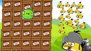 Angry Birds Collection 1 - CANNON MAD CHUCK SHOOT 100 BIRDS TO TNT PIGS!