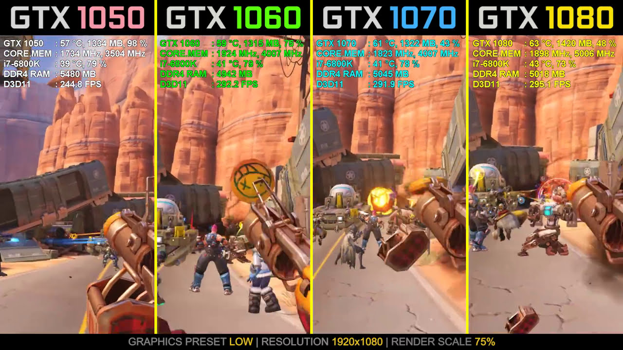 Overwatch Gtx 1050 Ti Vs  Gtx 1060 Vs  Gtx 1070 Vs  Gtx 1080  Wolfgang  03:44 HD