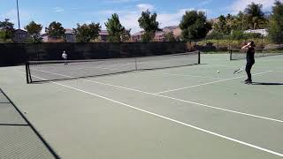 Sadie and Nathan playing tennis in Morgan Hill, 7/18/2018