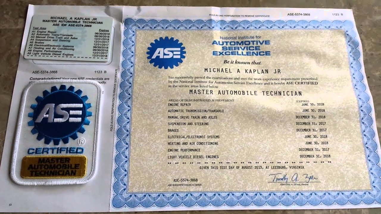Ase certified master technician youtube xflitez Images