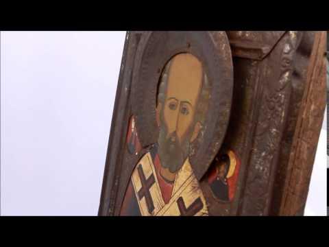 Купить икону в Москве и дешево: икона старинная Николай Чудотворец. DR0274.