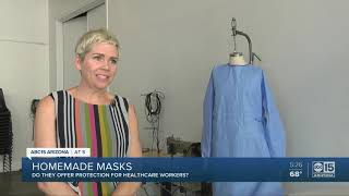 Homemade masks being made for healthcare workers