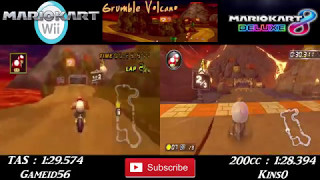 Video MKW TAS Vs MK8DX 200cc - Grumble Volcano World Record Comparison download MP3, 3GP, MP4, WEBM, AVI, FLV Oktober 2018