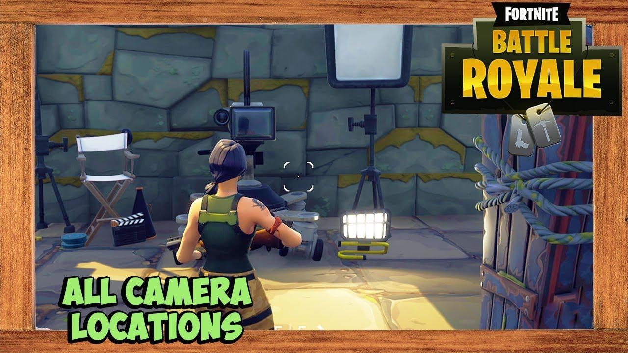 fortnite all film camera locations fortnite season 4 week 2 challenge - fortnite week 2 cameras