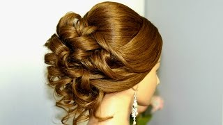 Hairstyle for medium long hair. Bridal prom updo.