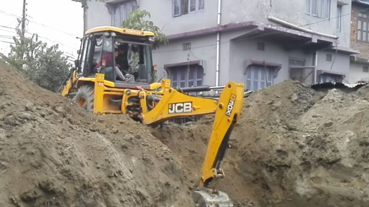 Jcb Backhoe Digging For House Foundation You