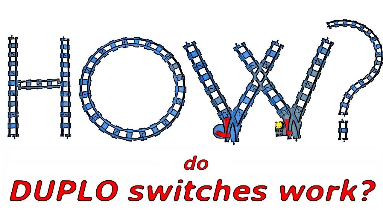 Duplo Train Track Switcher with Red Switch LEGO Dark Bluish Gray