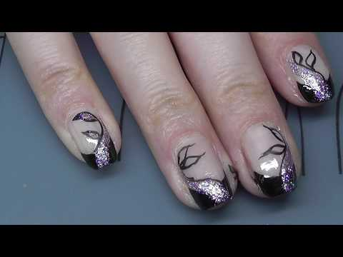 Elegantes French Nageldesign In Schwarz Mit Glitter Youtube