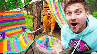100 Layer Rainbow Duct Tape SURVIVAL CAMP SITE!