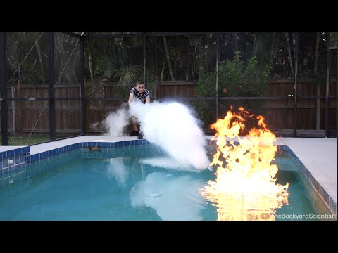 Pouring Liquid Nitrogen in a Pool - (I set my pool on fire ...