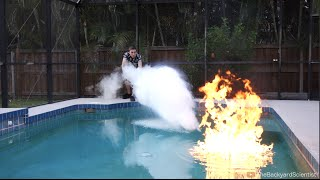 Pouring Liquid Nitrogen in a Pool - (I set my pool on fire!!)(Backyard Scientists T-Shirts! Limited Edition campaign, buy one now! - http://shop.crowdmade.com/collections/backyardscientist/ I pour Liquid Nitrogen, Diethyl ..., 2016-05-29T03:20:02.000Z)