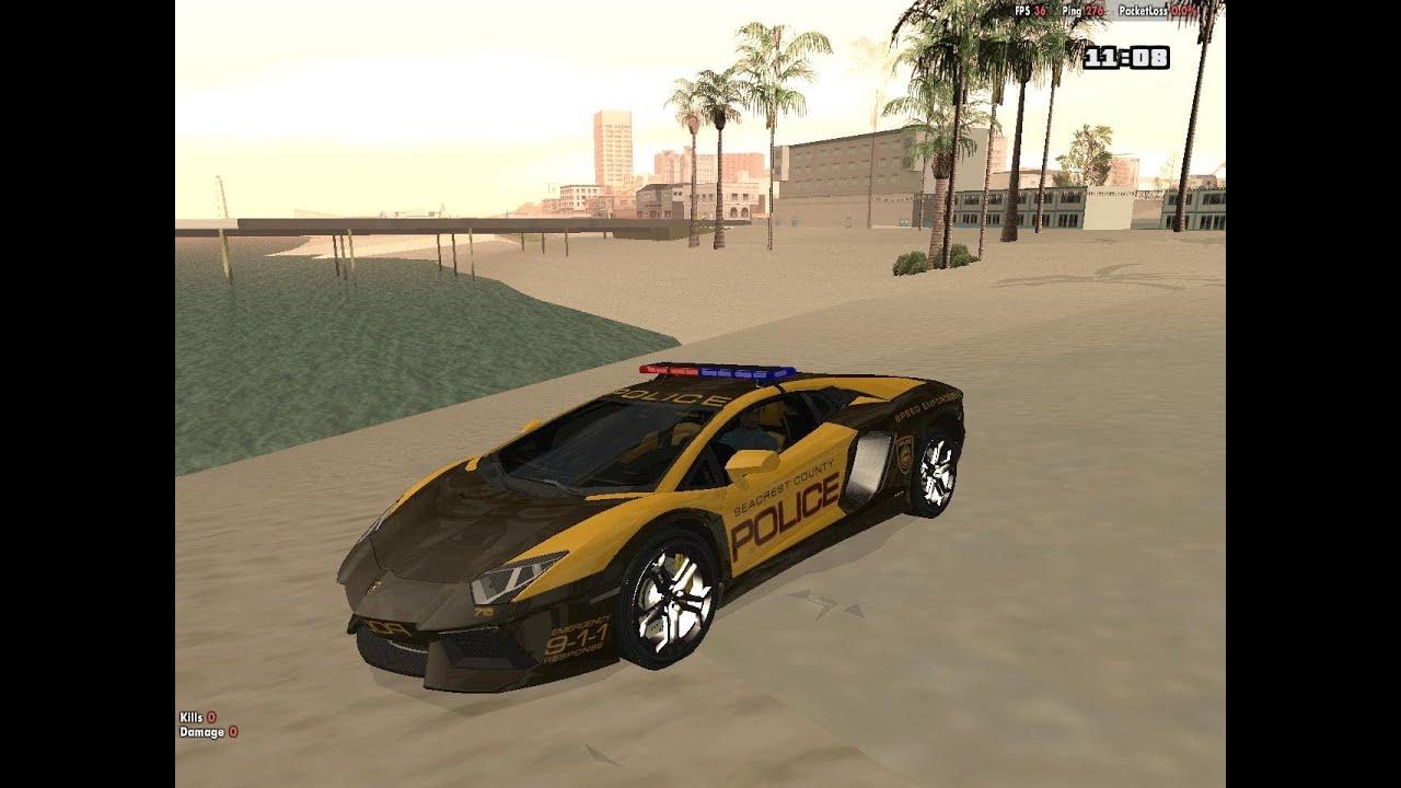 Lamborghini Aventador Lp7004 Police Car Mod For Gta San