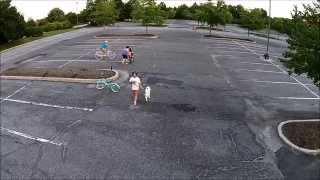Kids riding bikes - aerial edition!
