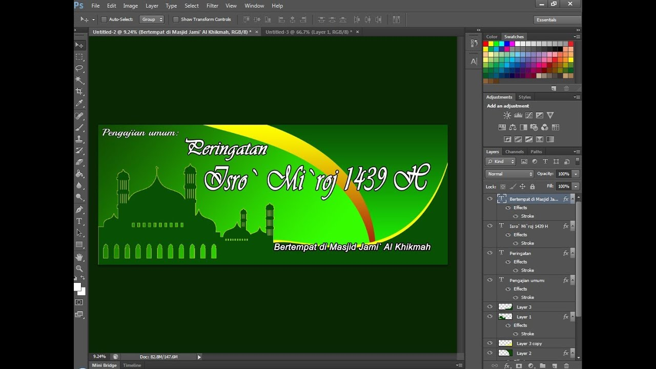 Cara Membuat Desain Banner Isra Mi Raj Di Photoshop Youtube