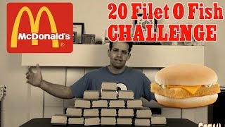 McDonalds 20 Filet O Fish Burger Challenge *7500 Calories** | FreakEating vs The World