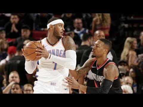 Carmelo Anthony Ejected! Damian Lillard 36 Pts 13 Asts! Thunder vs Blazers 2017-18 Season