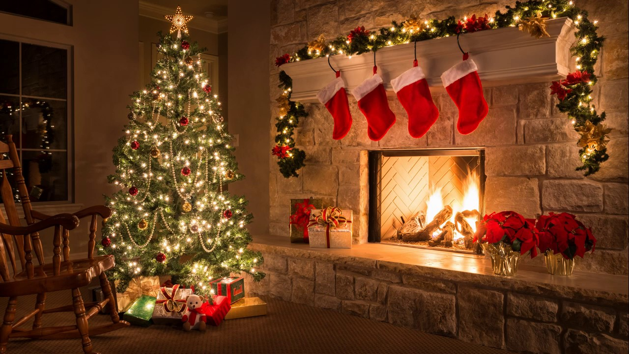 3 HOURS of Christmas Music 2020 FULL HD. Christmas tree and fireplace.