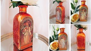 How to apply golden leaves on Glass Bottle Decoupage DIY