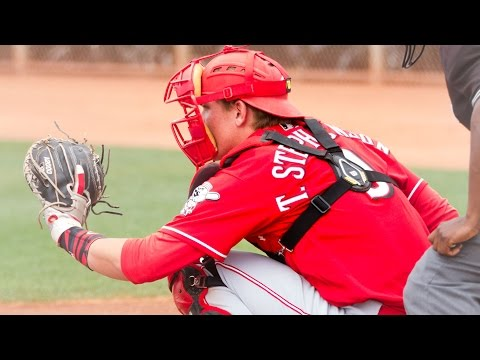 Cincinnati Reds Tyler Stephenson hitting in spring training