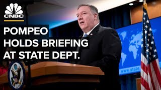 Secretary Mike Pompeo holds a briefing at the State Department - 3/17/2020